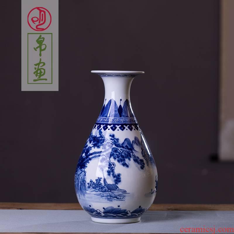 Jingdezhen ceramics antique blue and white porcelain vases, flower arrangement home sitting room adornment is placed Jingdezhen porcelain