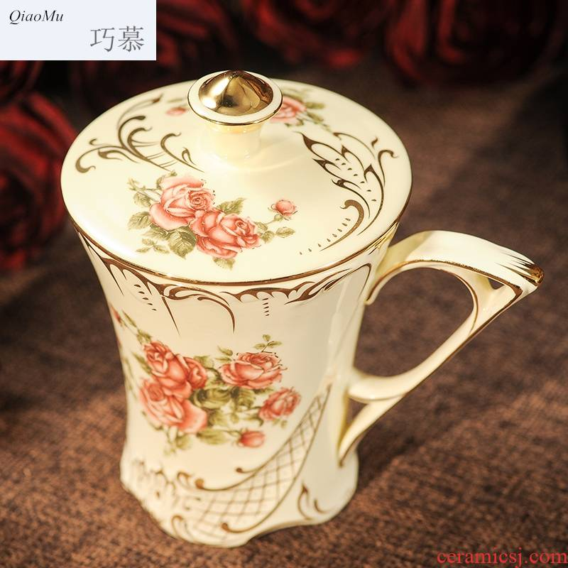 Qiao mu European household ceramic cup cup mark cup of milk a cup of coffee cup cup with cover with a spoon, couples do