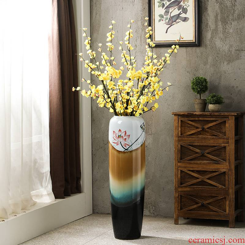 Ground vase large American ceramic big sitting room porch furnishing articles I and contracted household decorative flower vase