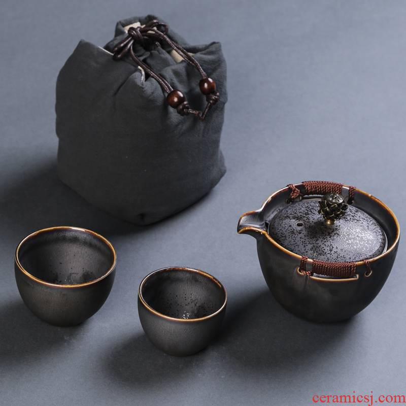 Crack cup 2 a pot of two cups of portable travel ceramic tea Japanese teacup kung fu tea set
