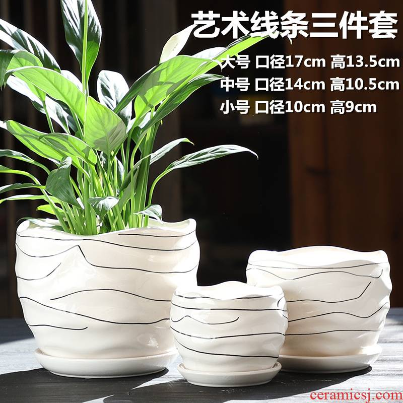 Large flower pot ceramics with tray other Nordic contracted white creative household small fleshy flower pot
