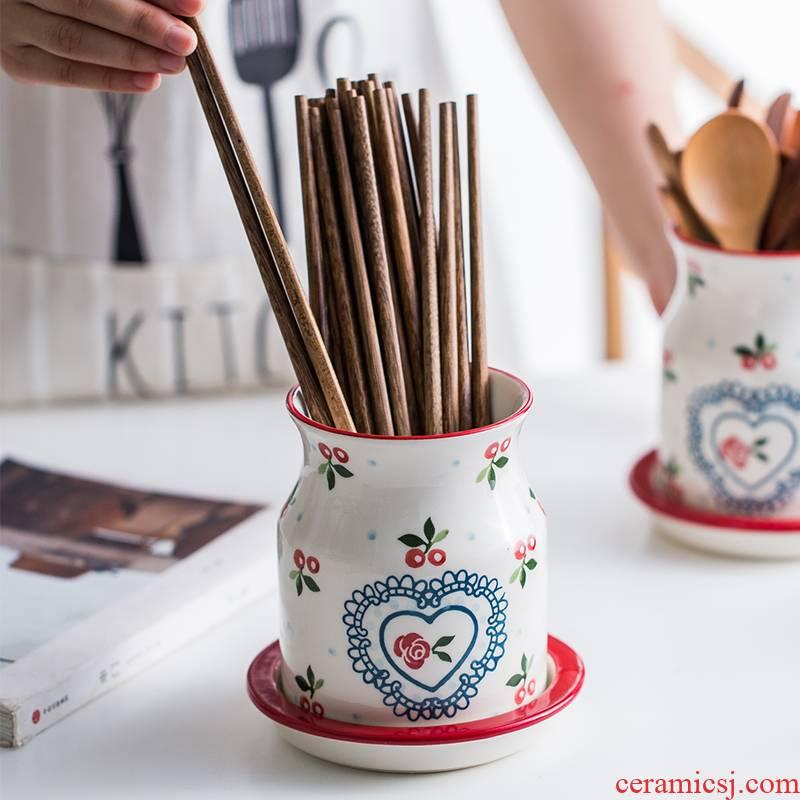 Hand - made cherry European ceramic tube of chopsticks chopsticks box household kitchen gadgets spoons chopsticks frame drop the receive a barrel