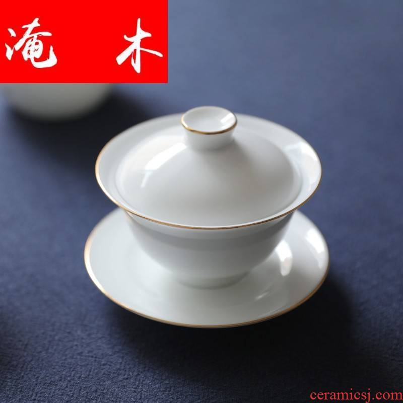 Flooded wood, mud - all hand kung fu jingdezhen ceramic paint cover cup tea sweet white tea cups to cover three