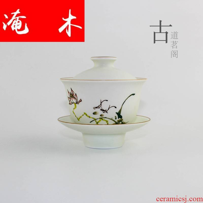 Flooded three tureen large jingdezhen only hand - made wooden frosted pastel lotus cover cup kung fu tea mercifully