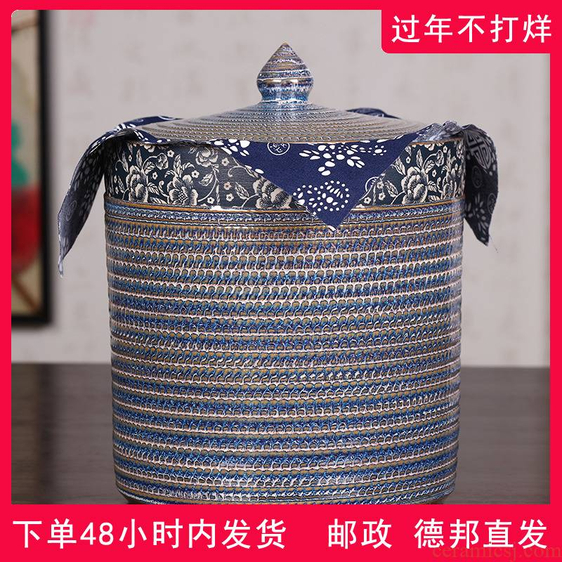 Jingdezhen ceramic tea caddy fixings storage tank of the big yard storage sealed as cans of pu - erh tea cake tea urn, the seventh, peulthai the household