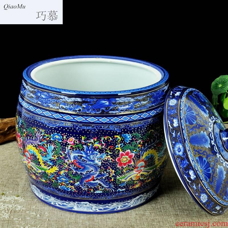 Qiao mu ceramic barrel 25 kg rice storage box ricer box storage tank tea cake cylinder oil tank household insect - resistant moistureproof thickening