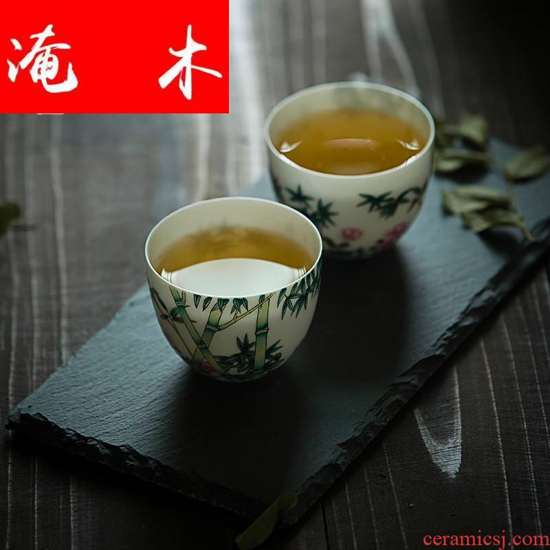 Submerged wood capacity up enamel jingdezhen ceramic cups hand - made small sample tea cup pure manual single CPU kung fu tea set