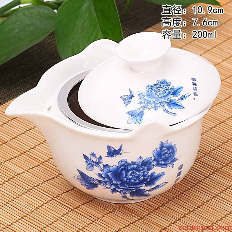 Flooded wooden hot large puer tea tureen make tea cup; Preventer ceramic three to kung fu home blue and white porcelain tea set