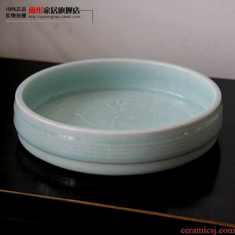 The rain tong home | jingdezhen ceramics hand - carved tea XiCha sea shadow celadon teahouse furnishing articles writing brush washer