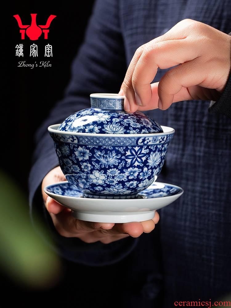Clock home up tureen jingdezhen blue and white maintain full manual hand - made spend three to make tea tureen kunfu tea bowl