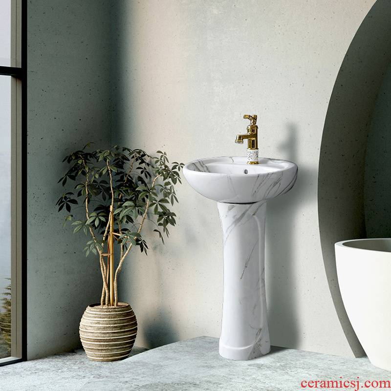 Ceramic washing basin vertical balcony sink basin of northern European toilet marble columns household contracted small landing