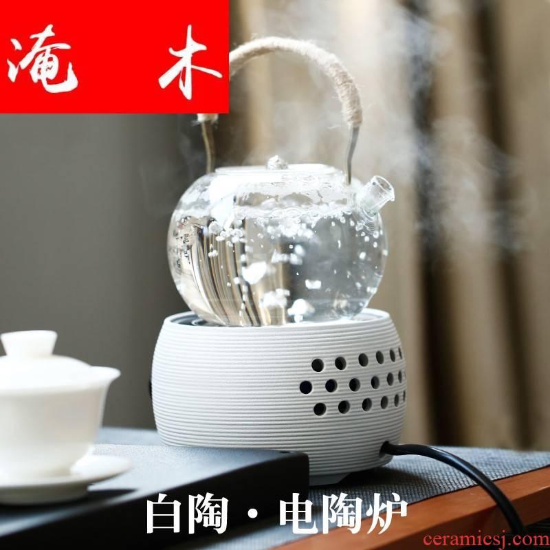 Submerged wood, white pottery TaoLu boiled tea machine mini small office household glass pot furnace iron pot of tea stove light waves