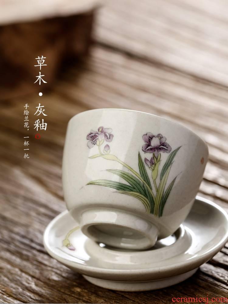 Jingdezhen hand - made master cup single cup pure manual plant ash glaze sample tea cup single kung fu tea set orchid tea cups