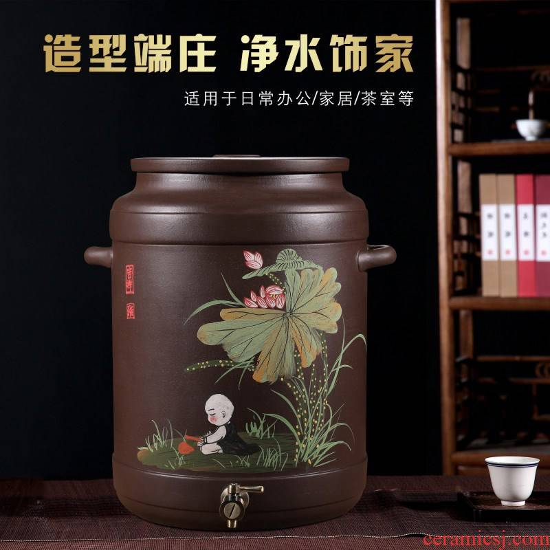 Purple sand tank 20 l with tap water storage tank of household ceramic filter tank large - sized pumping clean water tanks tea bucket