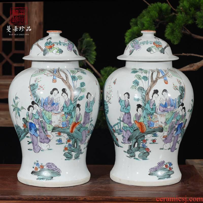 Jingdezhen general hand - made figure beauty ladies tank general elegant antique pot hand - made art of the republic of China