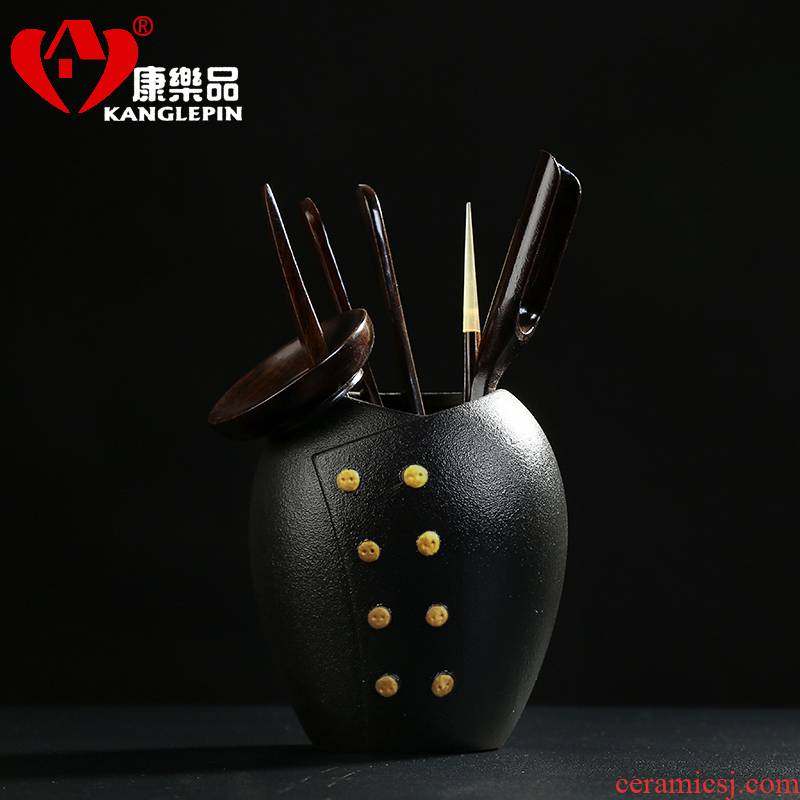 Recreational taste tea six gentleman 's suit ebony wood coarse ceramic kung fu tea set with parts teaspoons ChaGa