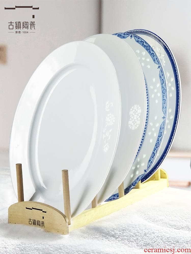 Jingdezhen ltd. fish dish home steamed fish plate large restaurant creative Nordic ceramic fish dish rectangular type
