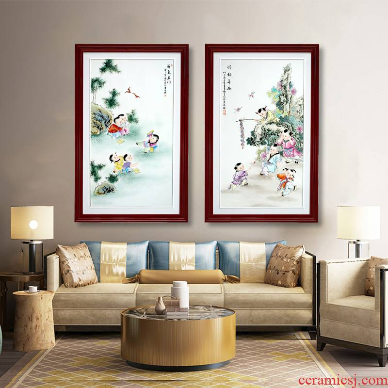 Jingdezhen porcelain plate painting enamel lad figure sitting room of Chinese style household hangs a picture of sofa setting wall decoration