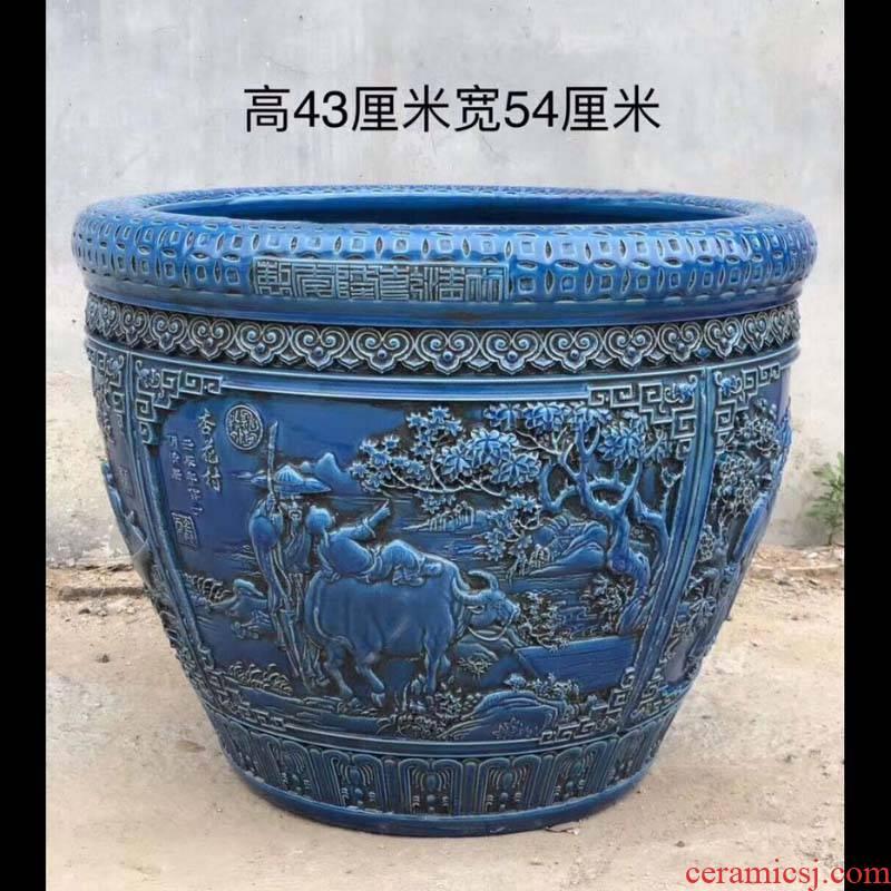 Jingdezhen 50 cm diameter dragon big cylinder lotus imitation antique blue green classical its porcelain cylinder cylinder