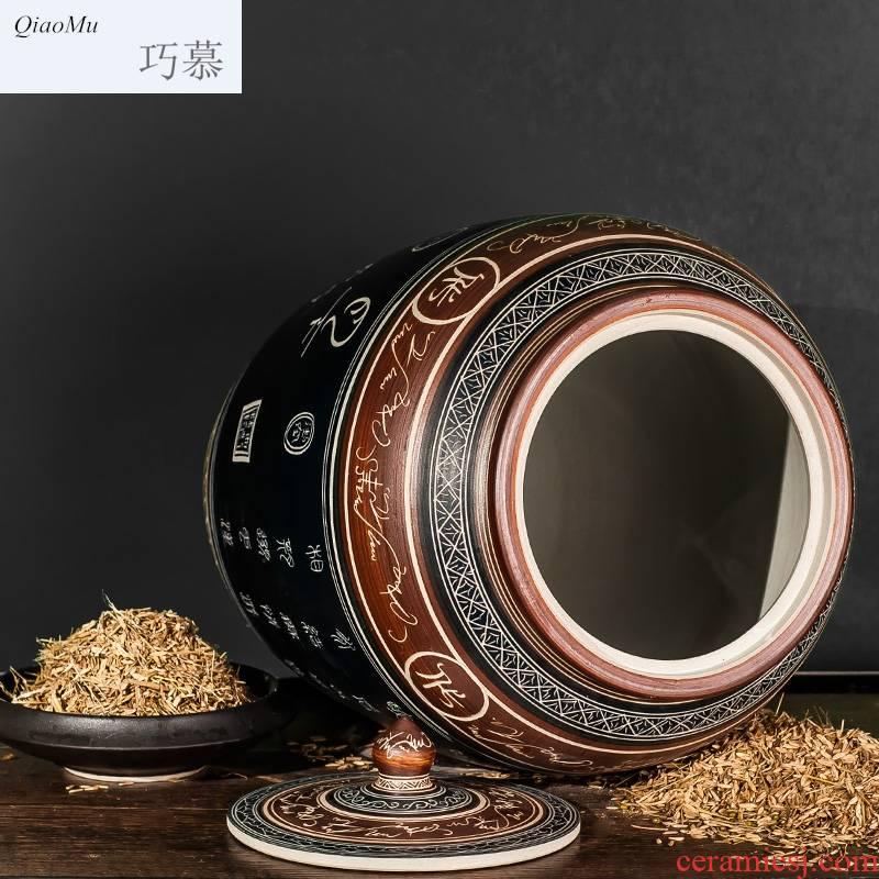 Qiao mu jingdezhen ceramics with cover barrel ricer box hand - carved retro moistureproof barrel jars kimchi 50/1