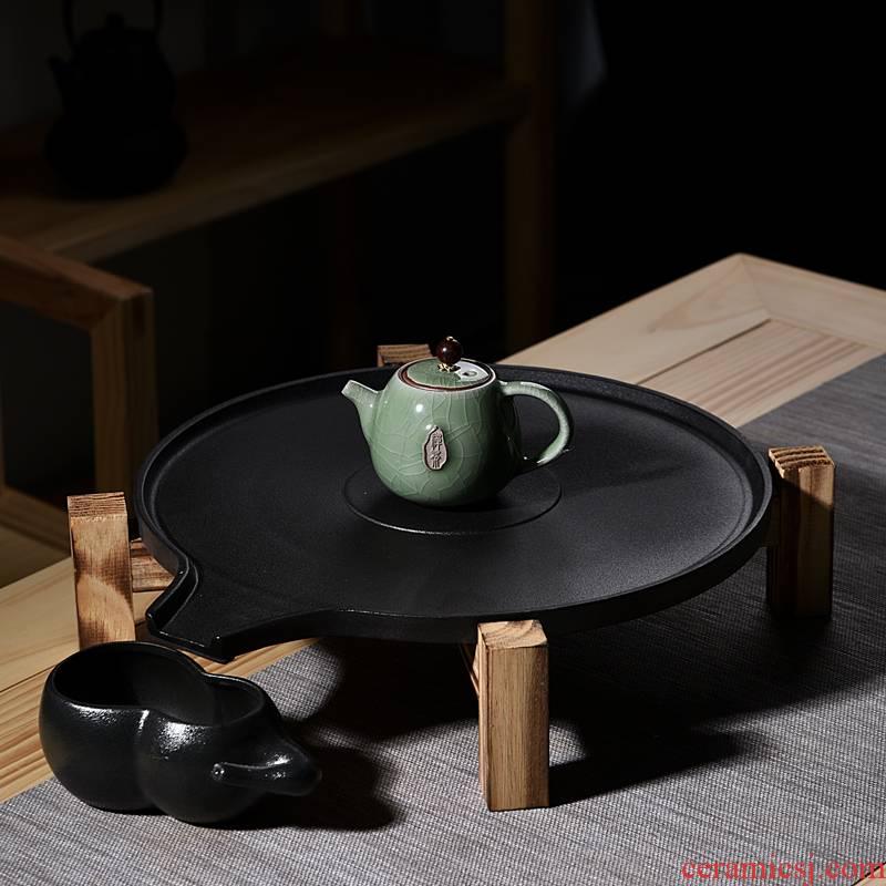 Hui shi ceramic tea tray drainage type tea tea tray tea taking I and contracted household small tea table creative circular water storage
