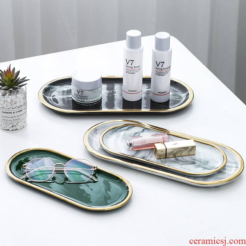 Nordic marble ceramic disc creative ins oval plate dessert aromatherapy jewelry receive plate toilet trays