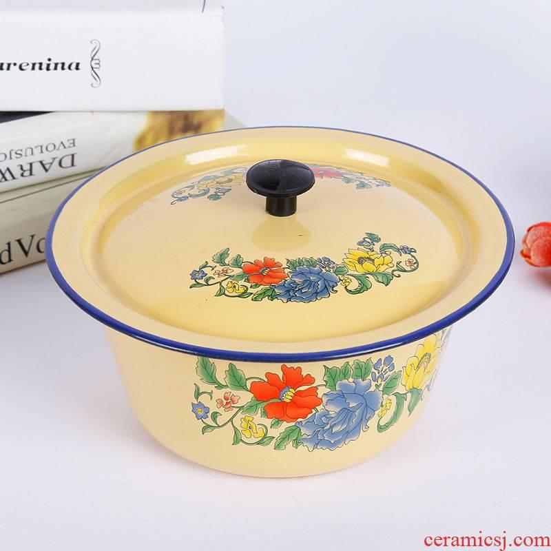 Old enamel POTS with cover soup pot enamel dumpling stuffing basin sauce bowl boil medicine deepen hand washing bowl of lard