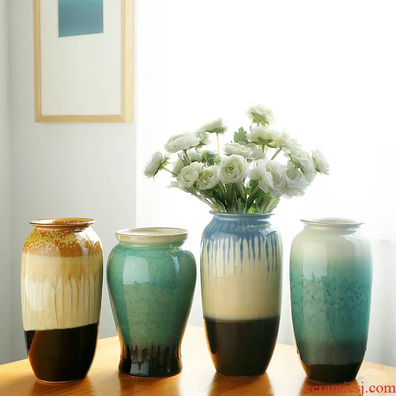European ceramics floret bottle of dry flower adornment furnishing articles I and contracted household act the role ofing is tasted living room table flower arranging flowers