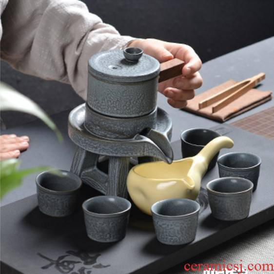 Kung fu tea sets domestic stone mill automatic tea cups dehua ceramic teapot gift custom lazy person