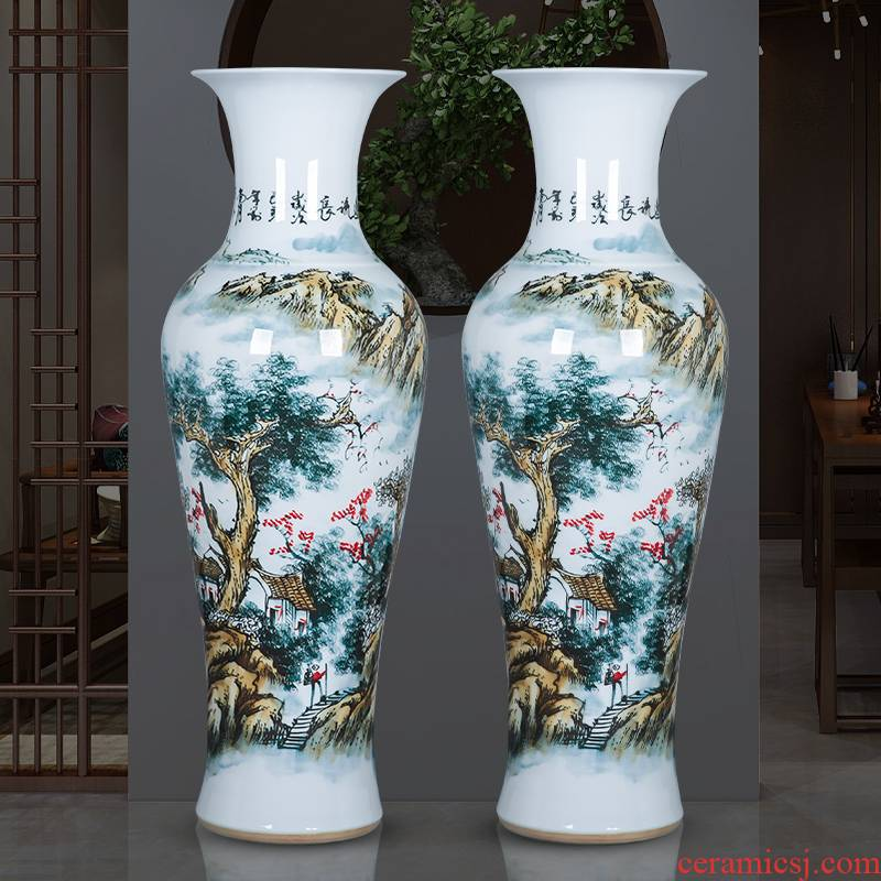 Jingdezhen porcelain has a long history in the ceramic oversized ground vase furnishing articles furnishing articles Chinese style hotel to live in the living room