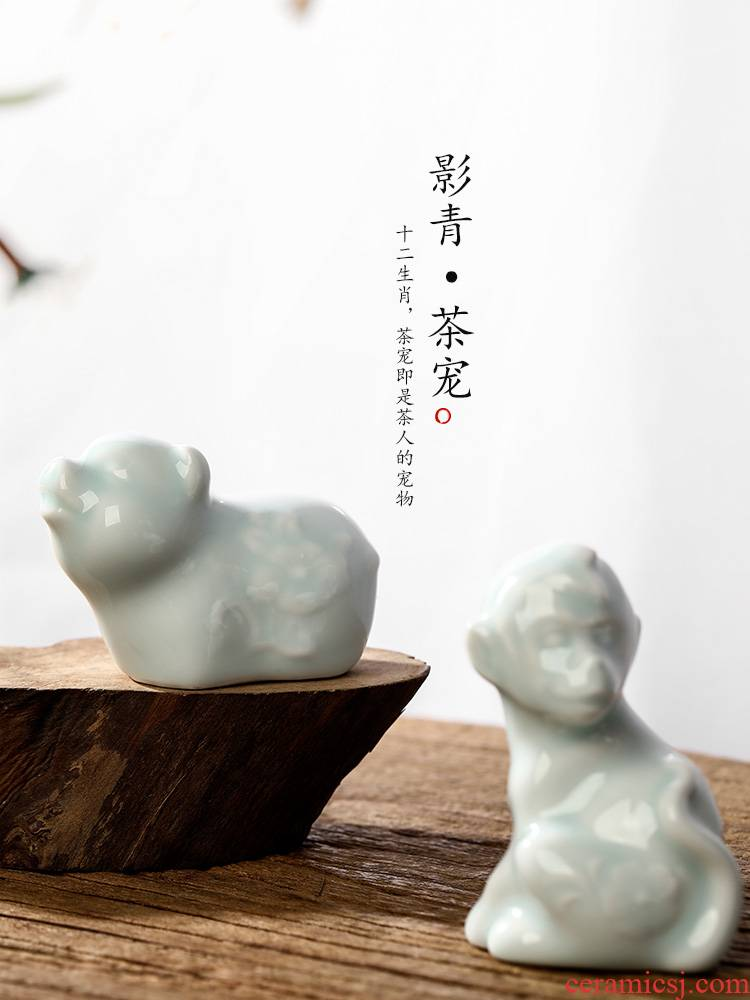 Pure manual pet jingdezhen shadow blue glaze tea worm creative tea table furnishing articles fine ceramic zodiac