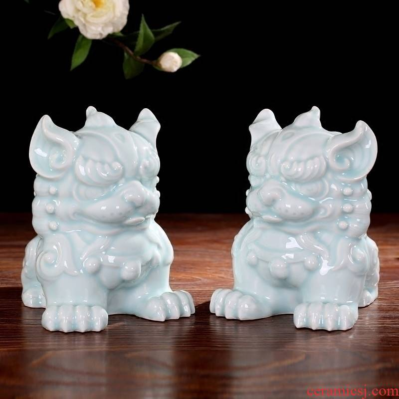 Jingdezhen ceramics green glaze furnishing articles for the sitting room of Chinese style household contracted mesa adornment office decoration