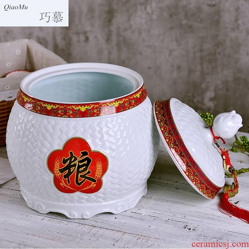 Qiao mu red jingdezhen ceramic barrel home ten catties small tank storage tank is festival seal oil cylinder 20 jins