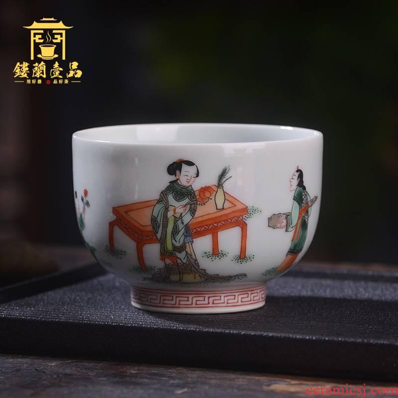 Jingdezhen ceramic hand - made colors all three niang godson master of kung fu tea tea cup sample tea cup single CPU