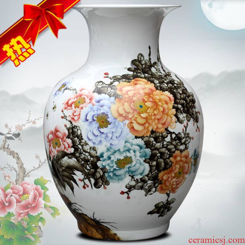 Jingdezhen ceramic hand - made peony is the only thing the French vases, flower arranging the study large household living room furnishing articles