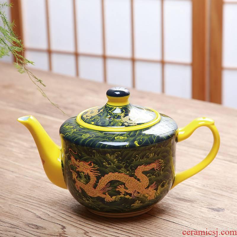 Large ceramic teapot handle type household teapot dragon pot of 770 ml of restoring ancient ways single pot of cold water pot restaurant