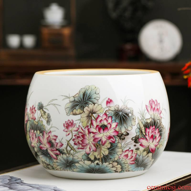 Jingdezhen porcelain lotus lotus fish tank cylinder furnishing articles small cornucopia desktop tank household decorations