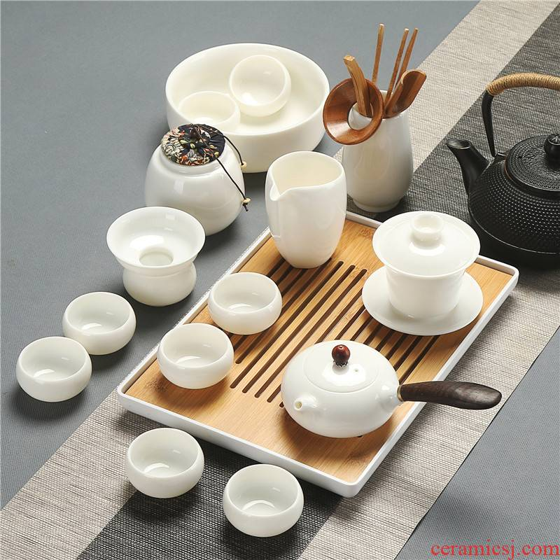 Dehua suet jade white porcelain kung fu tea set high - grade household contracted sitting room visitor GaiWanCha glass teapot