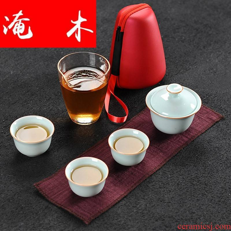 Flooded wooden is suing travel kung fu tea set white porcelain tureen portable crack cup Japanese ceramic office filtering teapot