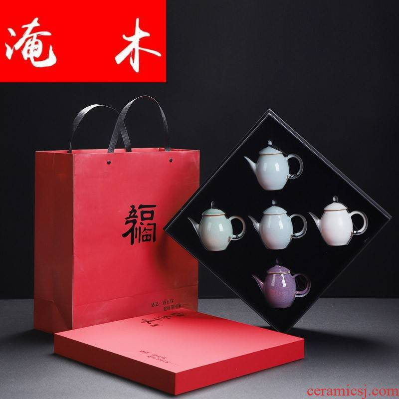 Submerged wood brother officer RuJun set five ancient jun teapot undressed ore ceramic cups kung fu tea set small personal hand