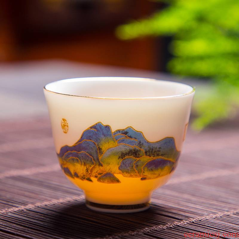 Dehua suet jade porcelain teacup personal special master cup white porcelain single CPU household kung fu tea set ceramic sample tea cup
