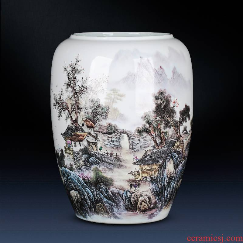 Large landscape of jingdezhen ceramics vase landed straight cylinder furnishing articles of Chinese style of calligraphy and painting home sitting room adornment