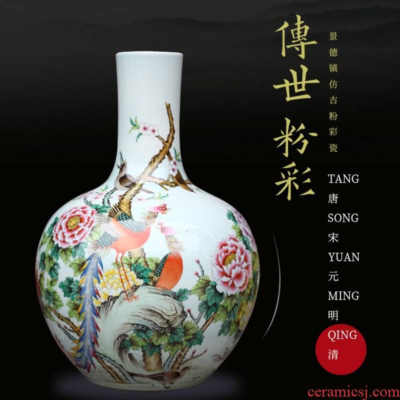 Jingdezhen ceramics hand - made powder enamel peach big vase home sitting room process mesa adornment furnishing articles