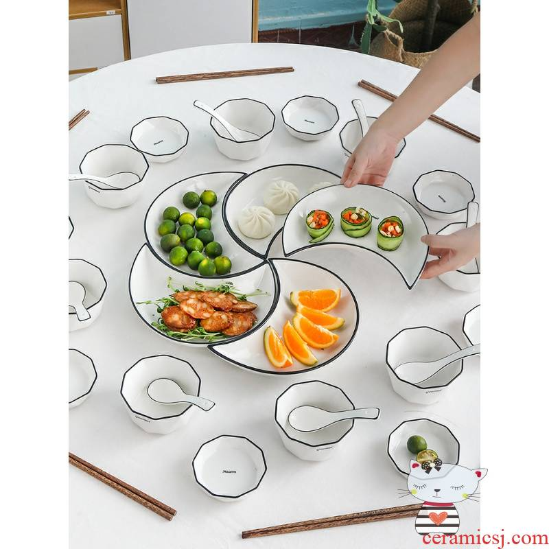 Y web celebrity food household reunion in the Nordic suit plate combination platter ceramic disc creative moon pendulum plate
