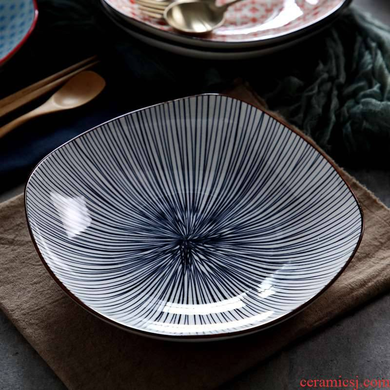 Tetragonal ceramic dish dish dish home creative Japanese and wind plate hotel business set up the table