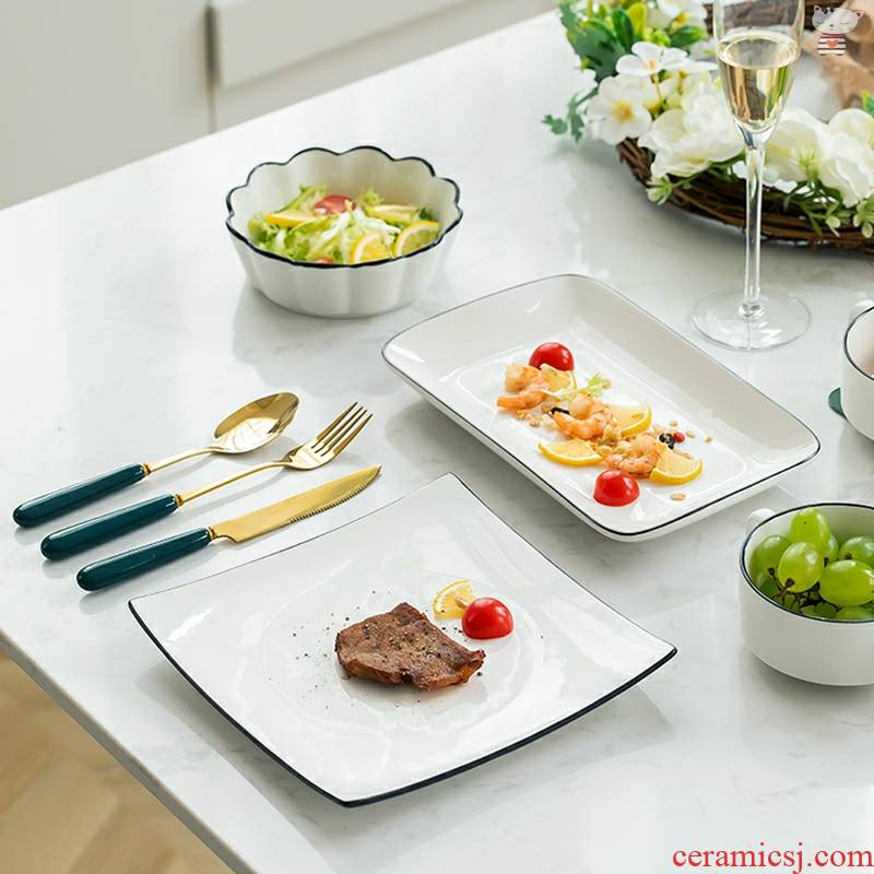 Yu 's continental food tableware full steak dinner plate western food knife and fork dish suits for high - grade household ceramic plate