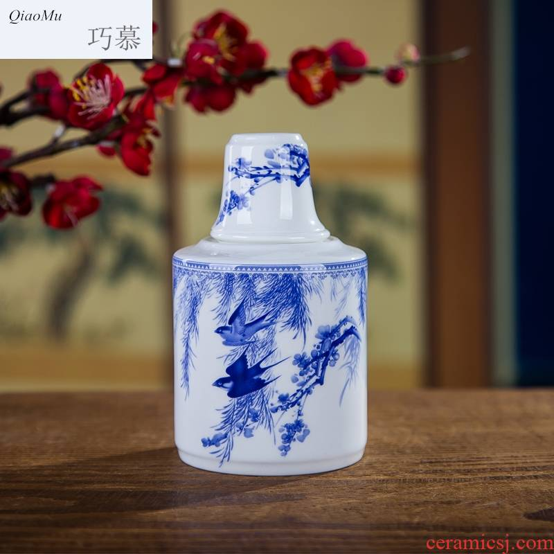 Qiao mu thin fetal ipads porcelain two temperature wine pot hot wine utensils suit warm white, yellow glass jar of jingdezhen