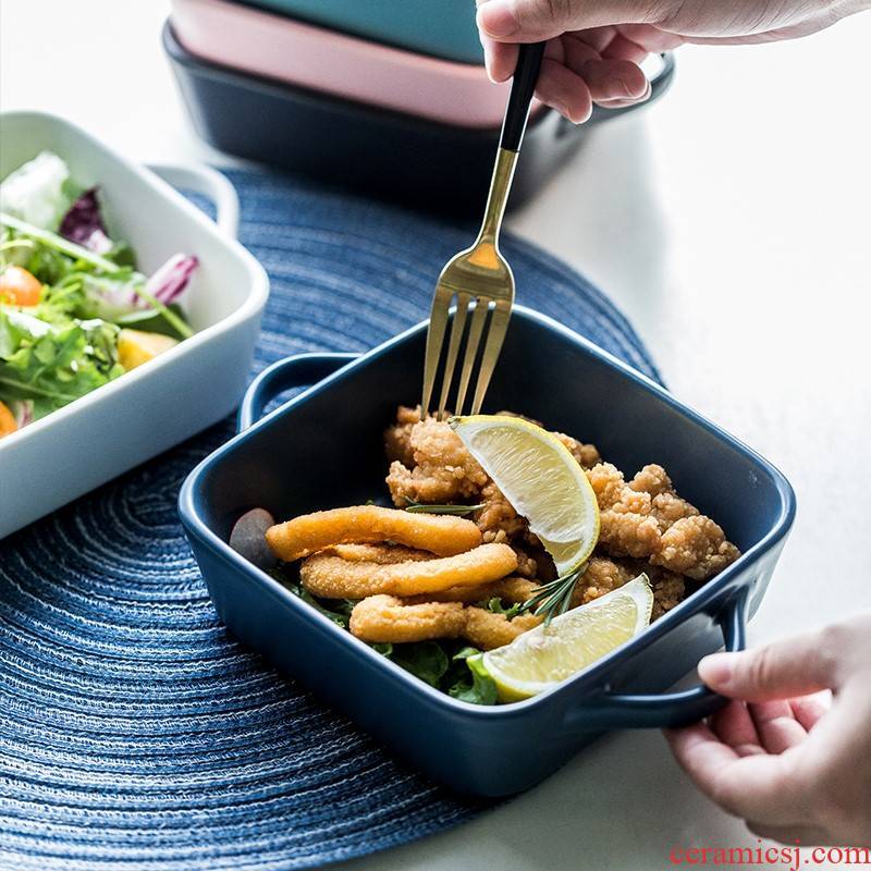 Creative ear side ceramic plate express it in western food deep dish plate tray is Creative fruit salad plate