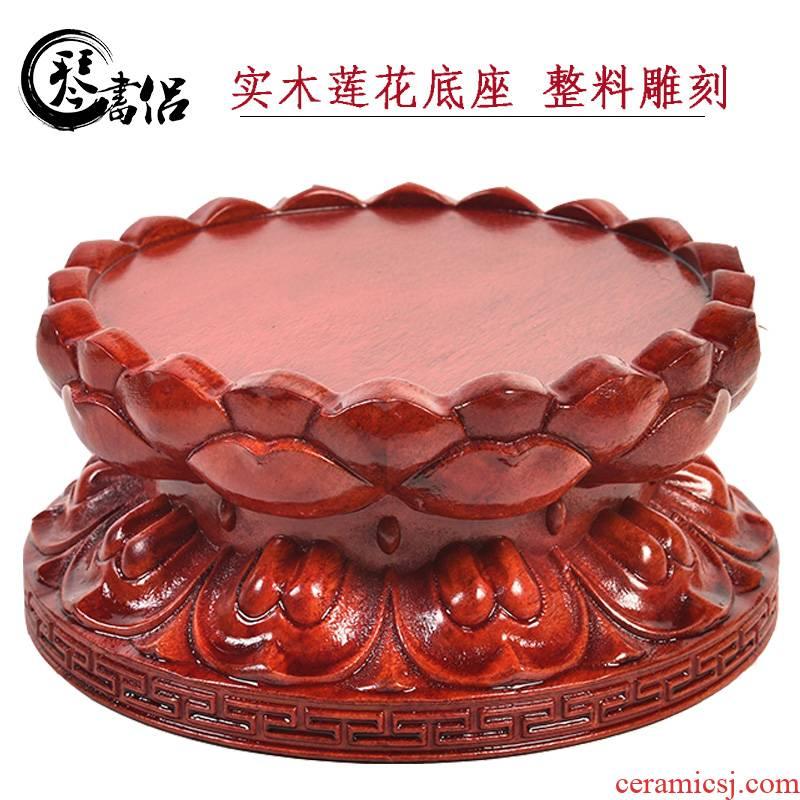 To worship the bodhisattva guanyin Buddha lotus base base base solid wood raised lotus home FoTai To pad
