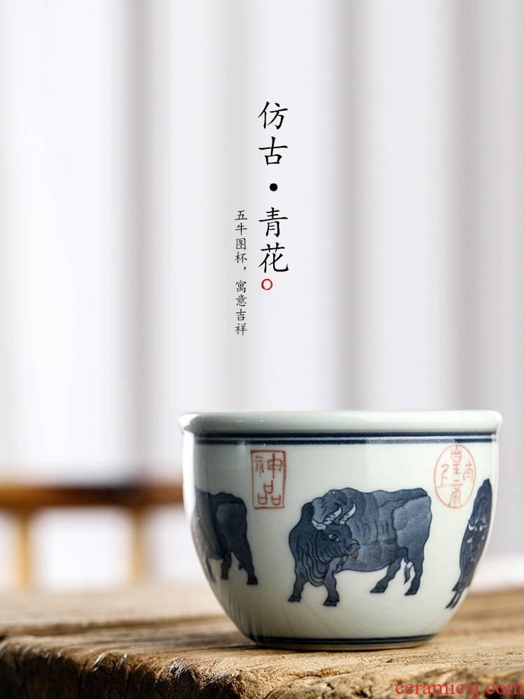 Jingdezhen blue and white master cup tea pure hand - made manual kung fu tea cup sample tea cup single CPU zodiac WuNiu